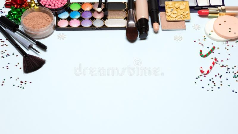 Γιορτή Χριστουγέννων makeup, φωτεινή νέα σύνθεση έτους με το διάστημα αντιγράφων στοκ φωτογραφία με δικαίωμα ελεύθερης χρήσης