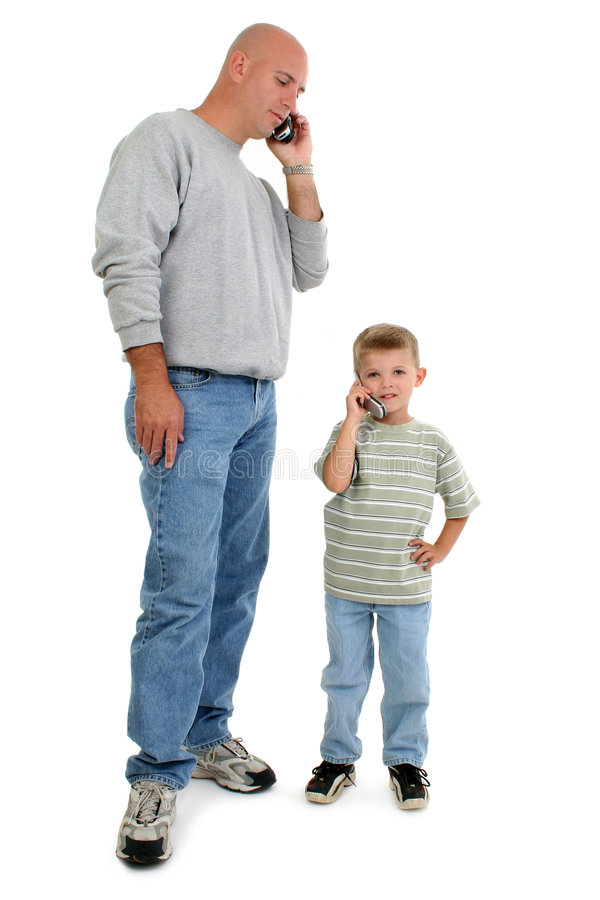 γιος πατέρων κινητών τηλεφώνων στοκ εικόνες με δικαίωμα ελεύθερης χρήσης