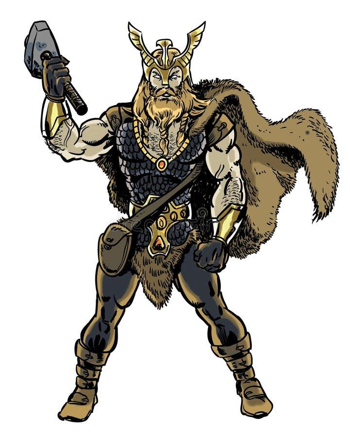 Γιος Thor της απεικόνισης χαρακτήρα κόμικς Odin ελεύθερη απεικόνιση δικαιώματος