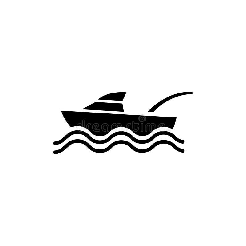 Γιοτ αθλητικής αλιείας, διακοπές, επίπεδο διανυσματικό εικονίδιο αναψυχής απεικόνιση αποθεμάτων