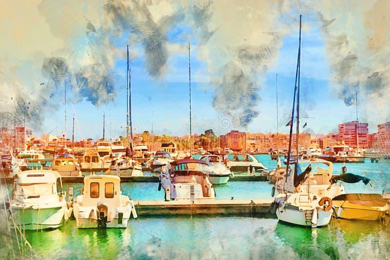 Γιοτ και βάρκες στην Ισπανία απεικόνιση αποθεμάτων