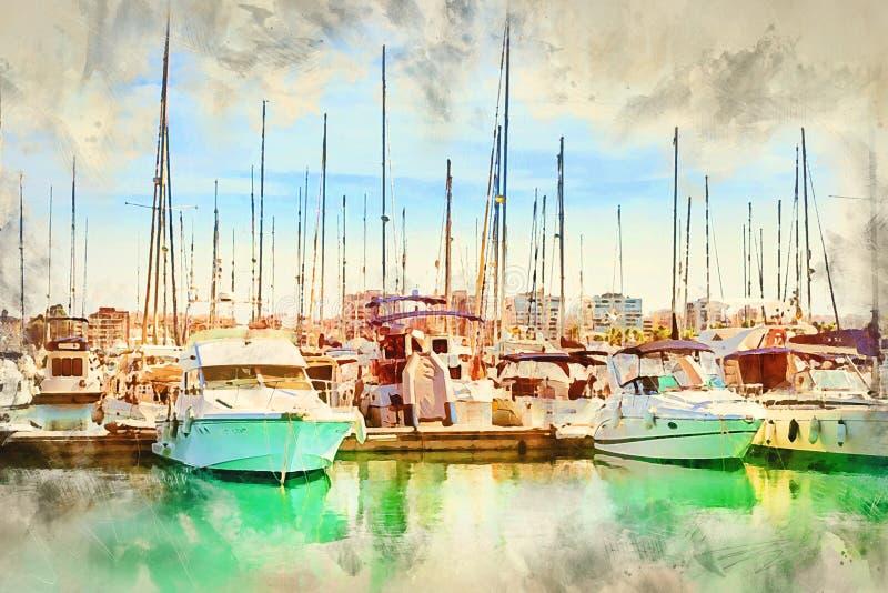 Γιοτ και βάρκες στη μαρίνα Torrevieja ελεύθερη απεικόνιση δικαιώματος