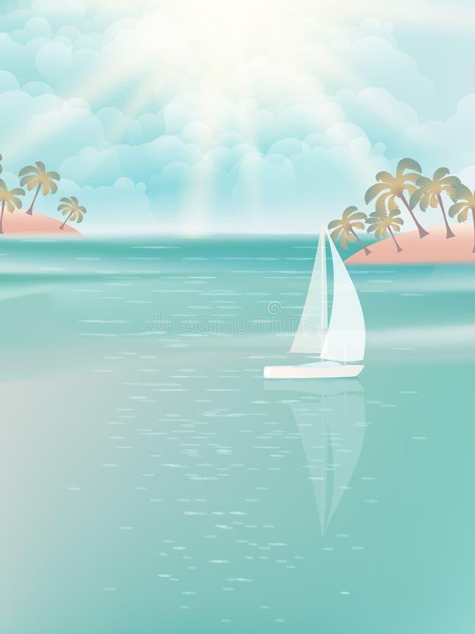 Γιοτ και μπλε ωκεανός νερού. EPS 10 διανυσματική απεικόνιση