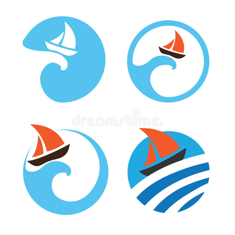 Γιοτ και πλέοντας βάρκες λογότυπα που τίθενται δ&iot διανυσματική απεικόνιση