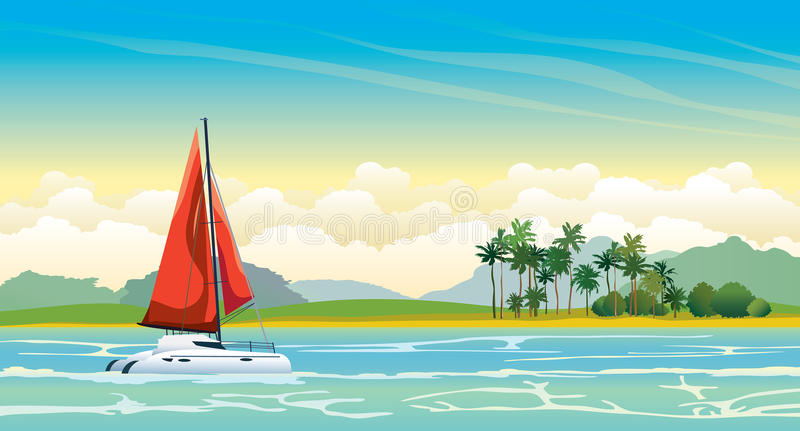 Γιοτ με τα κόκκινα πανιά, τη θάλασσα και το τροπικό τοπίο διανυσματική απεικόνιση