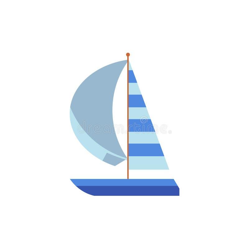 Γιοτ, πλέοντας σκάφος, βάρκα με ένα ριγωτό πανί ελεύθερη απεικόνιση δικαιώματος