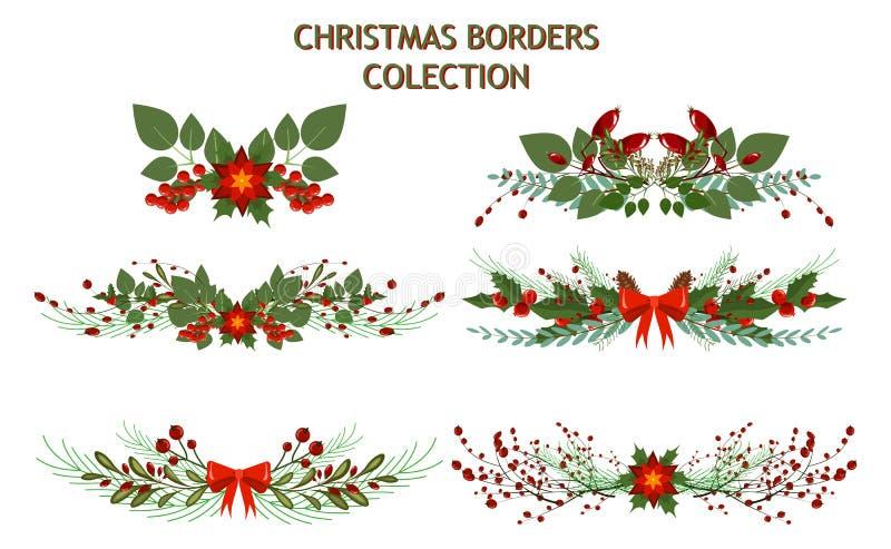 Γιρλάντα διακοπών διαιρετών πλαισίων διακοσμήσεων κλάδων χριστουγεννιάτικων δέντρων διανυσματική απεικόνιση