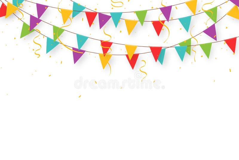 Γιρλάντα καρναβαλιού με τις σημαίες, το κομφετί και τις κορδέλλες Διακοσμητικές ζωηρόχρωμες σημαίες κομμάτων για τον εορτασμό γεν απεικόνιση αποθεμάτων