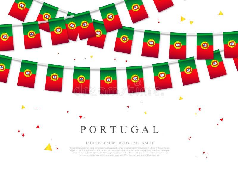 Γιρλάντα των πορτογαλικών σημαιών Ημέρα της ανεξαρτησίας στην Πορτογαλία απεικόνιση αποθεμάτων
