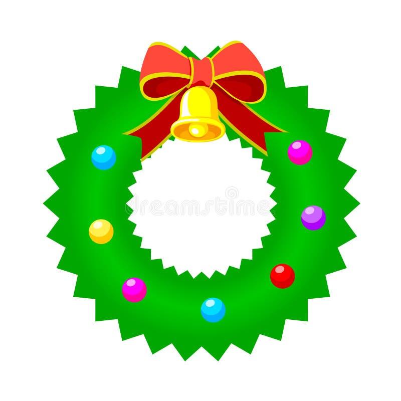 Γιρλάντα Χριστουγέννων με την κορδέλλα και το κουδούνι διανυσματική απεικόνιση