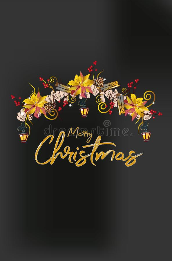 Γιρλάντα Χριστουγέννων με τις διακοσμήσεις από τους κλάδους χριστουγεννιάτικων δέντρων, τα φανάρια, τα κεριά, τις κόκκινες και άσ απεικόνιση αποθεμάτων