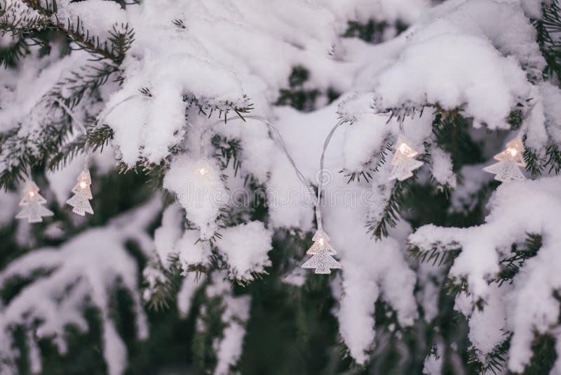 Γιρλάντα Χριστουγέννων στο χιονώδες δέντρο έλατου στοκ φωτογραφία με δικαίωμα ελεύθερης χρήσης