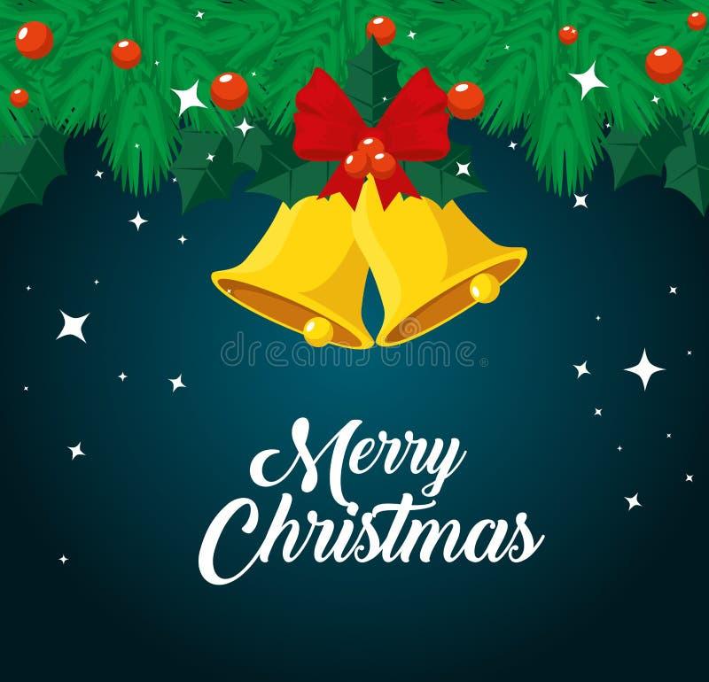 Γιρλάντες με τις σφαίρες και τα κουδούνια στη Χαρούμενα Χριστούγεννα ελεύθερη απεικόνιση δικαιώματος