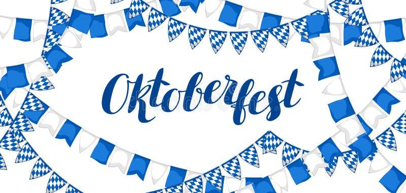 Γιρλάντα με τις σημαίες Φεστιβάλ μπύρας Oktoberfest Έγχρωμη εικονογράφηση Έμβλημα ή αφίσα για τη γιορτή ελεύθερη απεικόνιση δικαιώματος
