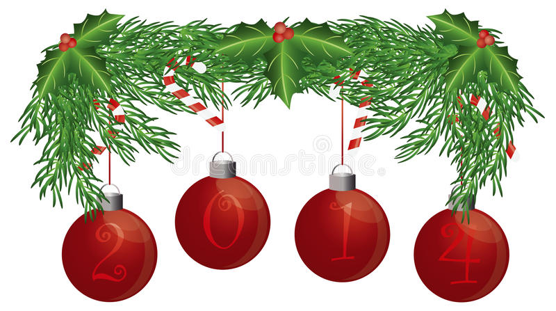 Γιρλάντα χριστουγεννιάτικων δέντρων με τη 2014 απομονωμένη διακοσμήσεις απεικόνιση διανυσματική απεικόνιση