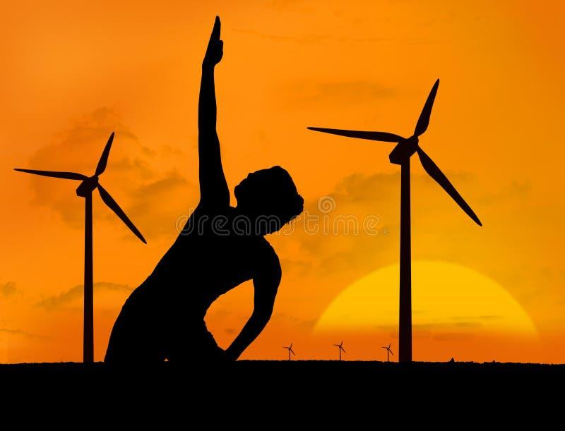 Γιόγκα άσκησης γυναικών κάτω από το ηλιοβασίλεμα διανυσματική απεικόνιση