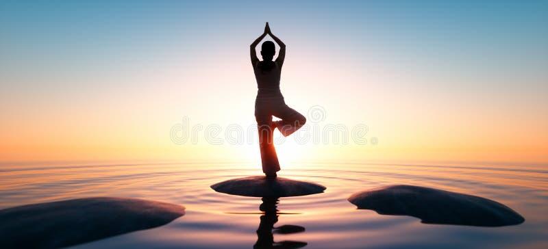 Γιόγκα άσκησης γυναικών στο χρόνο ηλιοβασιλέματος διανυσματική απεικόνιση