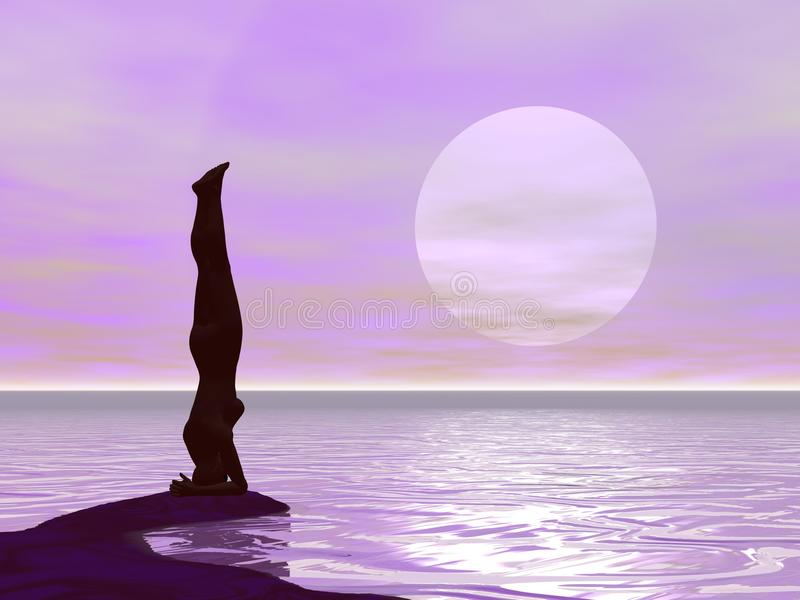 Γιόγκα από το ηλιοβασίλεμα - τρισδιάστατο δώστε ελεύθερη απεικόνιση δικαιώματος