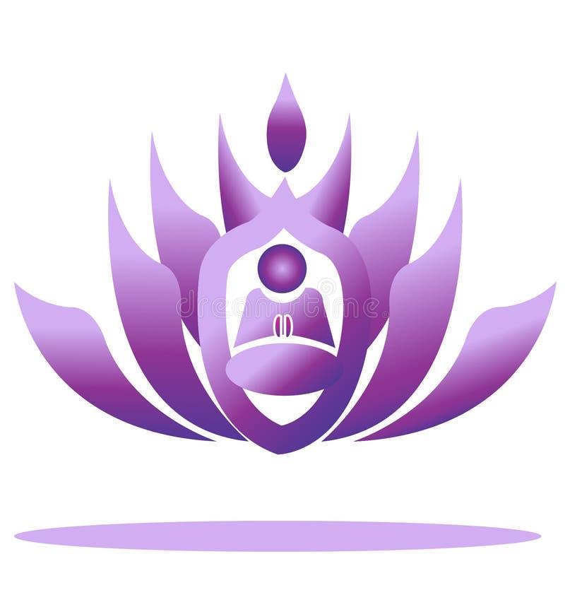 γιόγκα λωτού λογότυπων λουλουδιών διανυσματική απεικόνιση