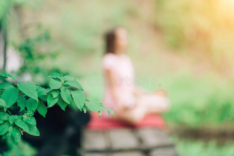 Γιόγκα στη φύση, πάρκο Στο disfocus η γυναίκα θέτει, στο πρώτο πλάνο από τα φύλλα εστίασης στοκ φωτογραφίες