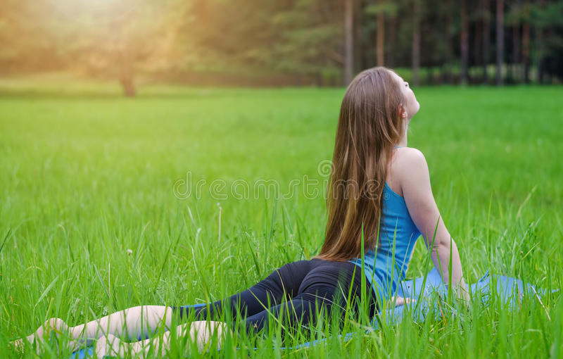 Γιόγκα στη φύση στοκ φωτογραφία