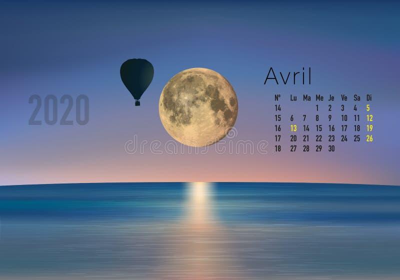 2018-γιόγκα Zen-04 CALENDRIER Avril απεικόνιση αποθεμάτων
