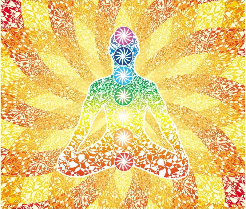Γιόγκη στο κέντρο του δικτυωτού mandala με τα σημάδια των chakras διάνυσμα διανυσματική απεικόνιση
