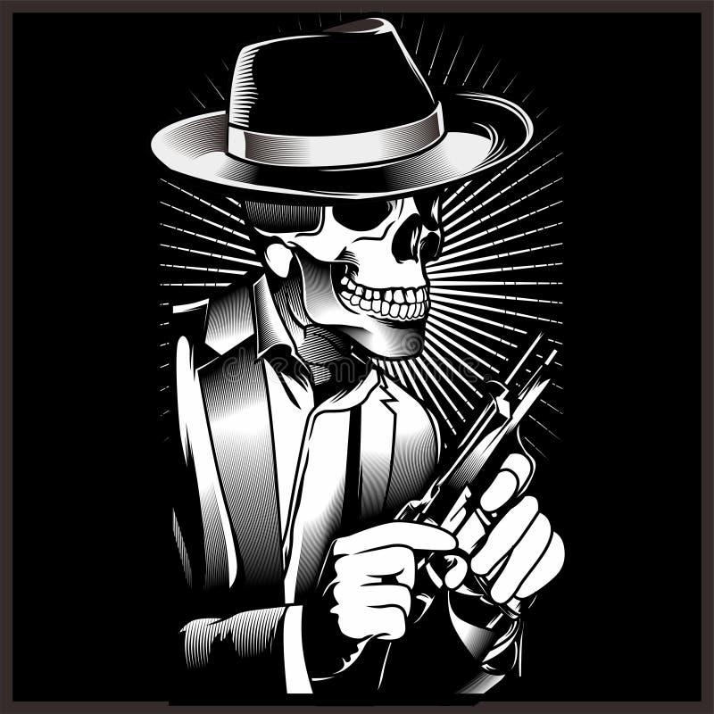 Γκάγκστερ σκελετών με τα περίστροφα στο κοστούμι r απεικόνιση αποθεμάτων