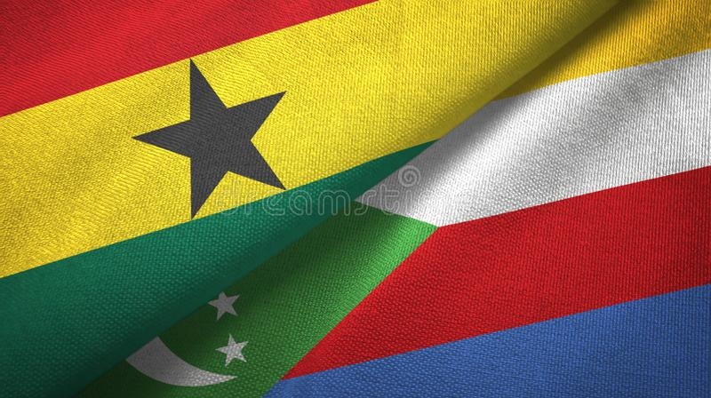 Γκάνα και Κομόρες δύο υφαντικό ύφασμα σημαιών, σύσταση υφάσματος διανυσματική απεικόνιση