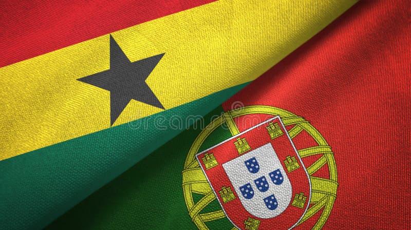 Γκάνα και Πορτογαλία δύο υφαντικό ύφασμα σημαιών, σύσταση υφάσματος απεικόνιση αποθεμάτων