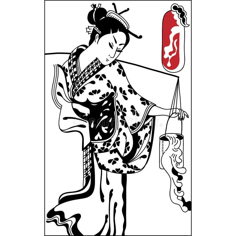 γκέισα Ιαπωνική γυναίκα Ιαπωνικό έμβλημα Το εκλεκτής ποιότητας χέρι σύρει την τέχνη ελεύθερη απεικόνιση δικαιώματος