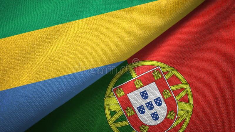 Γκαμπόν και Πορτογαλία δύο υφαντικό ύφασμα σημαιών, σύσταση υφάσματος διανυσματική απεικόνιση