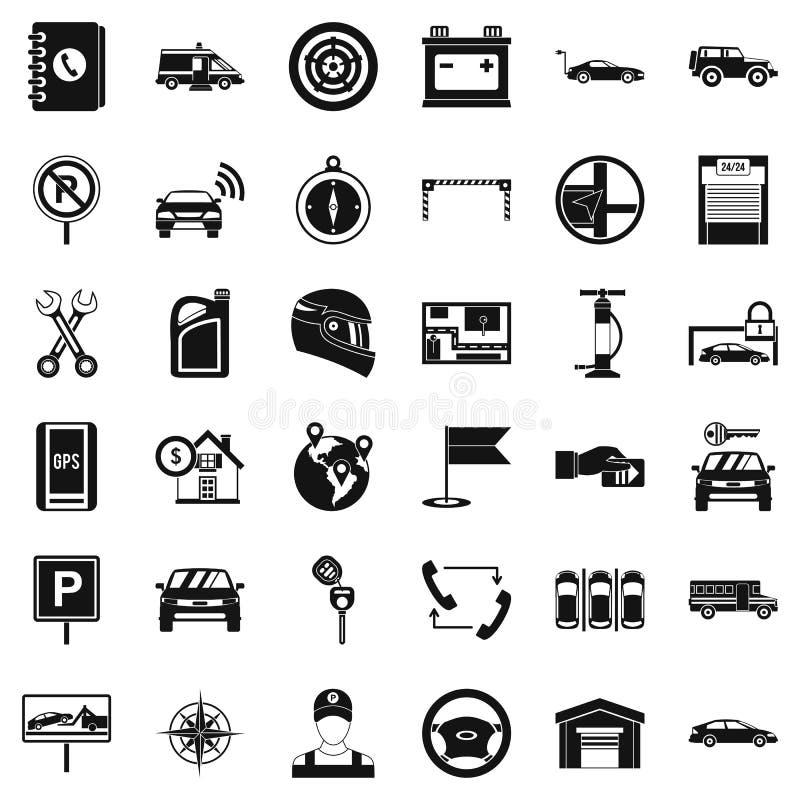 Γκαράζ για τα εικονίδια αυτοκινήτων καθορισμένα, απλό ύφος διανυσματική απεικόνιση