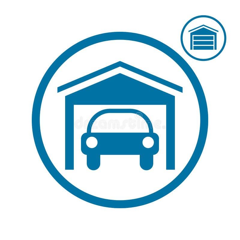 Γκαράζ με το εικονίδιο αυτοκινήτων ελεύθερη απεικόνιση δικαιώματος