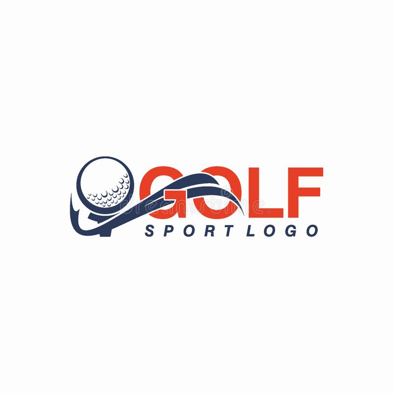 Γκολφ λεσχών ή έννοια σχεδίου αθλητικών λογότυπων απεικόνιση αποθεμάτων