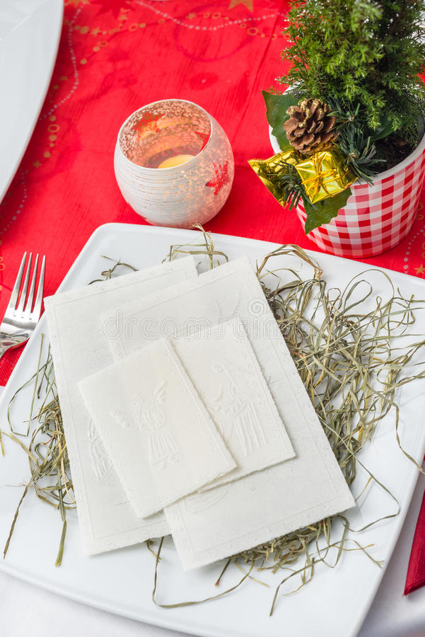 Γκοφρέτα Παραμονής Χριστουγέννων με τις διακοσμήσεις στοκ φωτογραφίες