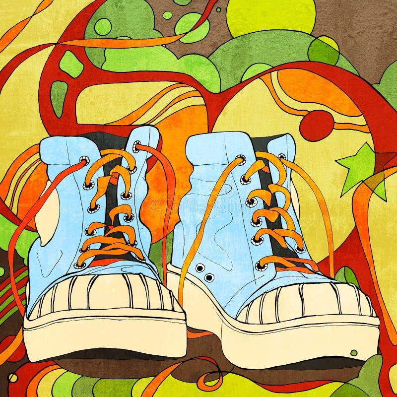 Γκράφιτι με τα μπλε πάνινα παπούτσια στοκ εικόνα με δικαίωμα ελεύθερης χρήσης