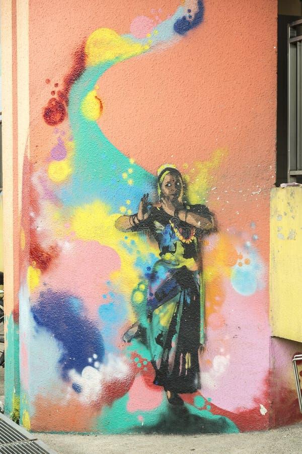 Γκράφιτι σε λίγη περιοχή της Ινδίας στη Σιγκαπούρη στοκ εικόνα με δικαίωμα ελεύθερης χρήσης