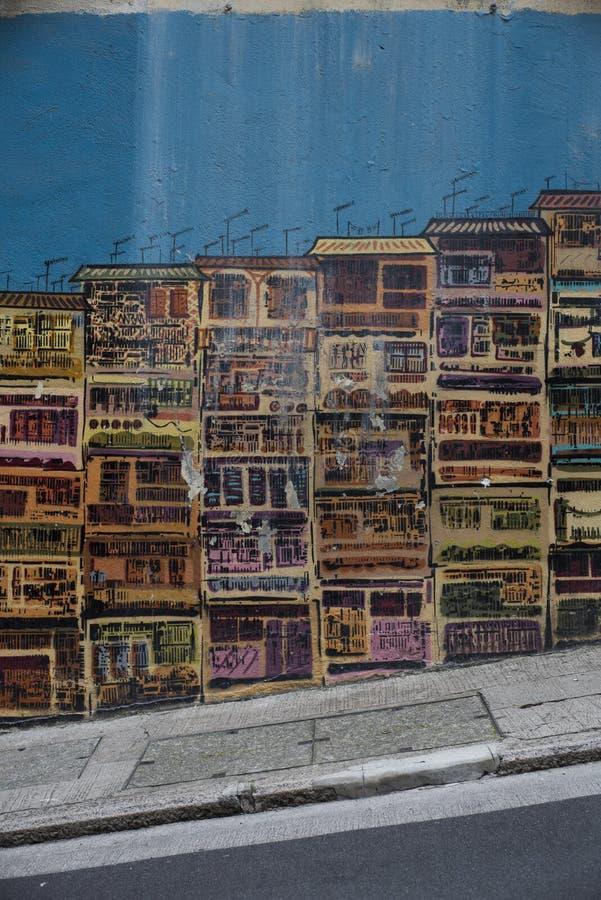 Γκράφιτι στην οδό του Graham, Χονγκ Κονγκ στοκ εικόνες
