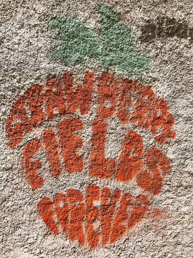 ΓΚΡΆΦΙΤΙ ΤΗΣ STRAWBERRY FIELDS ΓΙΑ ΠΑΝΤΑ ΣΕ ΈΝΑΝ ΣΥΜΠΑΓΉ ΤΟΊΧΟ στοκ φωτογραφία με δικαίωμα ελεύθερης χρήσης