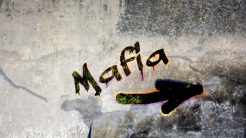 Γκράφιτι τοίχων στη μαφία στοκ φωτογραφίες