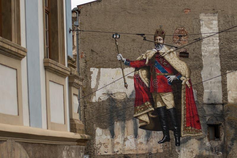 Γκράφιτι του αυτοκράτορα που κάνουν selfie στοκ εικόνες