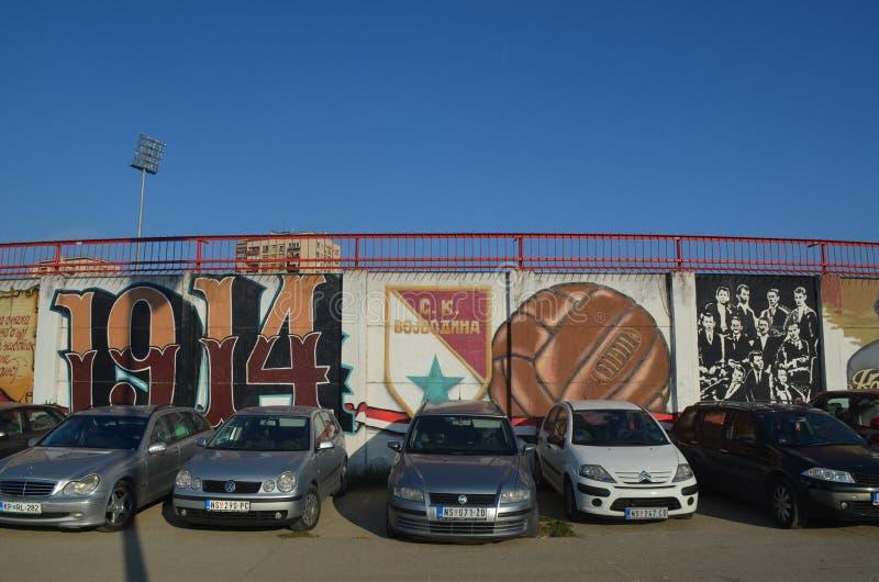 Γκράφιτι Vojvodina FC των ανεμιστήρων Novi Sad Σερβία στοκ φωτογραφίες