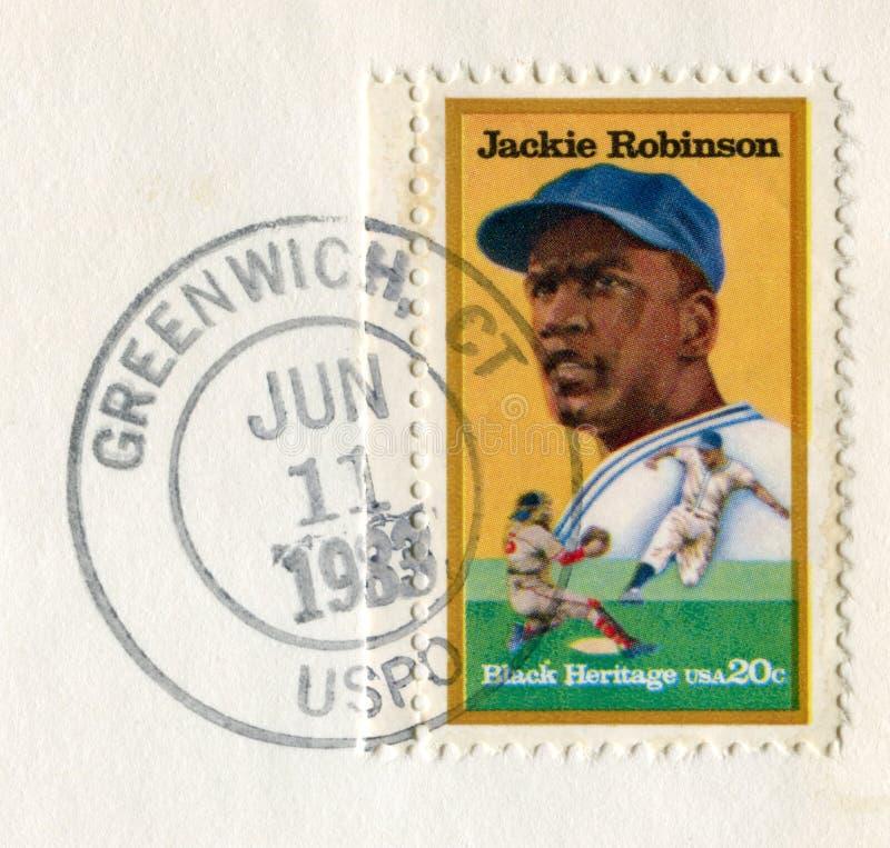 Γκρήνουιτς, Κοννέκτικατ, οι ΗΠΑ - 11 Ιουνίου 1983: Εμείς ιστορικό γραμματόσημο: Η Jackie Robinson ήταν αμερικανικός επαγγελματικό στοκ φωτογραφίες