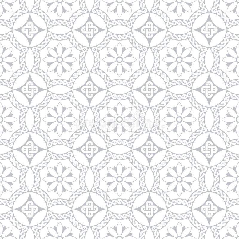 Γκρίζα άνευ ραφής floral ρωμαϊκά μωσαϊκά ύφους διακοσμήσεων παλαιά διανυσματική απεικόνιση