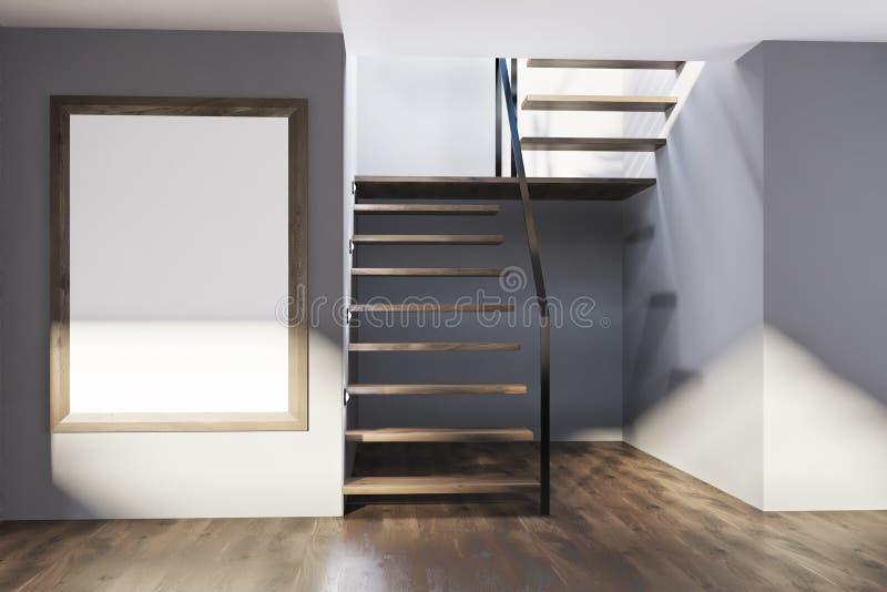 Γκρίζα αίθουσα με τα σκαλοπάτια και μια αφίσα απεικόνιση αποθεμάτων
