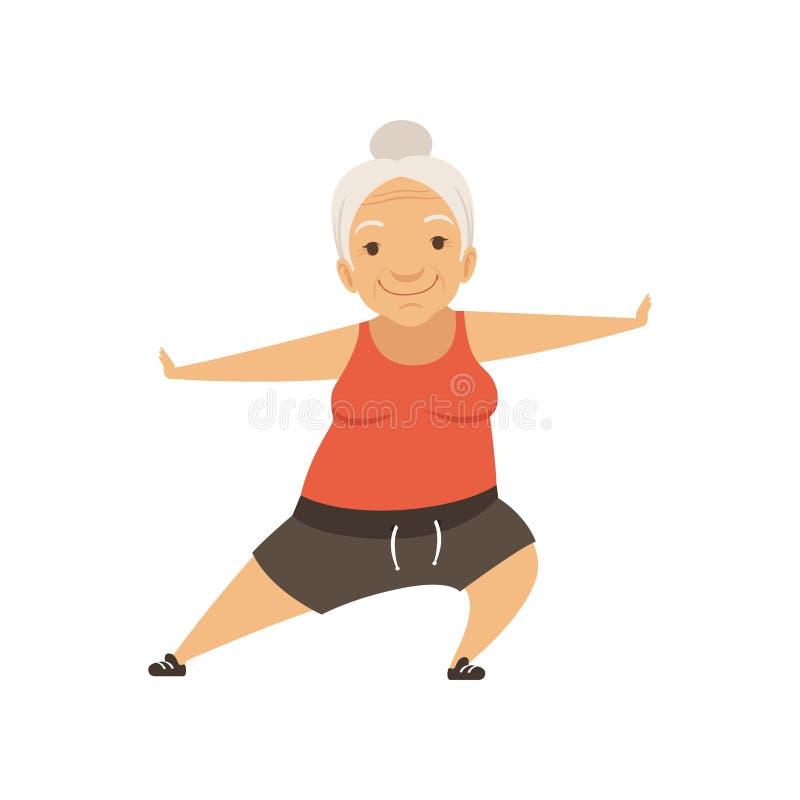 Γκρίζα ανώτερη γυναίκα που κάνει τον αθλητισμό, χαρακτήρας γιαγιάδων που κάνει τις ασκήσεις πρωινού ή τη θεραπευτική γυμναστική,  ελεύθερη απεικόνιση δικαιώματος