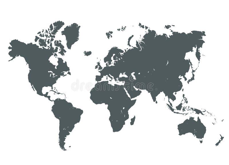 Γκρίζα απεικόνιση παγκόσμιων χαρτών διανυσματική απεικόνιση
