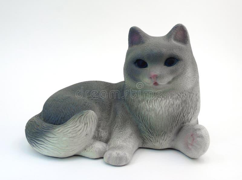 Γκρίζα γάτα ειδωλίων στοκ εικόνες με δικαίωμα ελεύθερης χρήσης
