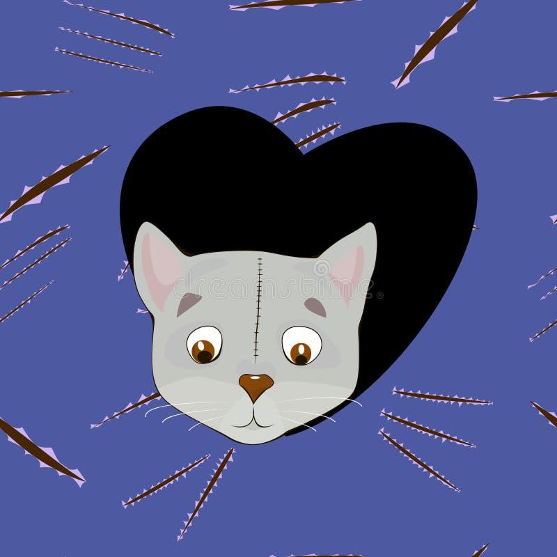 Γκρίζα γάτα κινούμενων σχεδίων στην καρδιά στο υπόβαθρο γρατσουνιών ελεύθερη απεικόνιση δικαιώματος